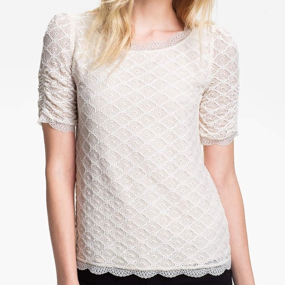 Joie Tullia Geo Lace Top in Off White